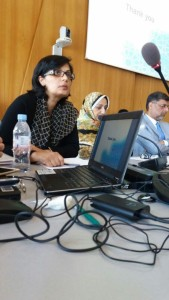 Sania Nishtar speaking during an OIC meeting a day before the elections of the WHO DG in May 2017