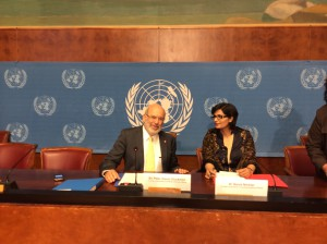 Sania Nishtar speaking to journalists at Palais de Nations Geneva