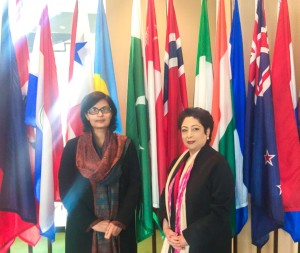 Sania Nishtar with Pakistan Permanent Rep in New York