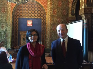 Sania Nisthar with the Minister of Health of Poland in Warsaw during the campaign visit for the WHO DG election in 2017
