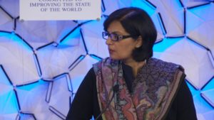 Dr. Sania Nishtar speaking at the South Asia Panel in Davos 2018