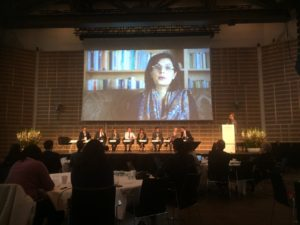 Sania Nishtar addressing a global meeting through a videolink in Copenhagen 2018