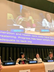 Sania Nishtar and the President of the UN General Assembly at the opening of the hearring on NCDs on July 5, 2018