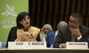 Sania Nishtar chairing a meeting in Geneva at the WHO headquarters