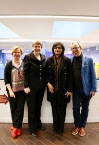Sania Nishtar with Helen Clark Kent Buse and Sarah Hawkes in London November 2017