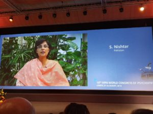 Dr. Sania Nishtar virtually addressing the World Congress of Psychiatry_Lisbon