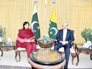 Dr. Sania Nishtar with President AJK