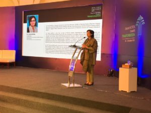 Dr. Sania Nishtar giving keynote address at PPAF Research Conference