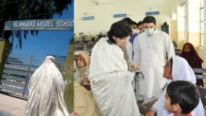 Disguised in Burqa Dr Sania visits Ehsaas payment sites at Bari Imam